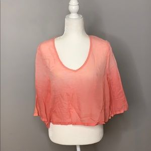 Anthropologie Pink Dip Dye Sheer Crop Top M/L